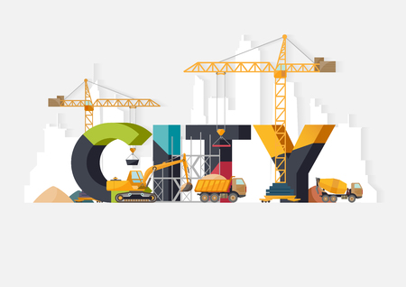 City construction. Typographic illustrations.