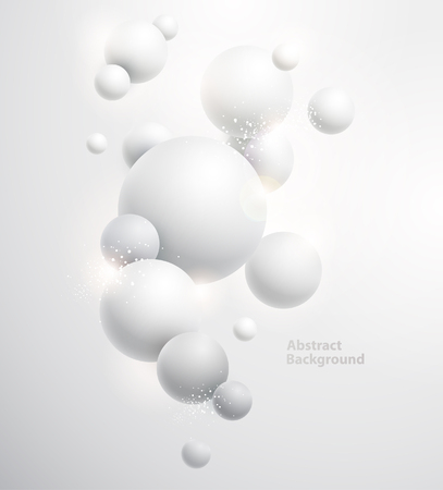 Ilustración de Minimalistic white background with 3D balls. - Imagen libre de derechos