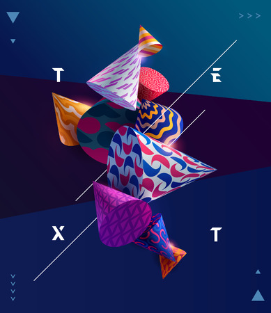 Illustration pour Poster template with 3D decorative cones. - image libre de droit