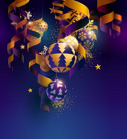 Ilustración de Christmas balls with ribbons, stars and snowflakes - Imagen libre de derechos