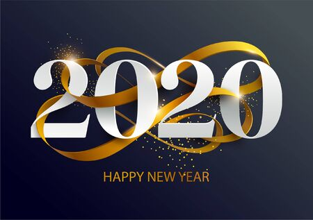 Illustration pour New Years 2020. Greeting card with date and ribbon - image libre de droit