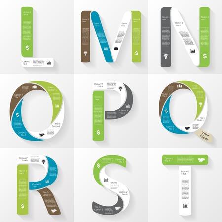 Vector font infographic, diagram, presentation. Letters L, M, N, O, P, Q, R, S, T. Business concept with options, parts, steps or processes.