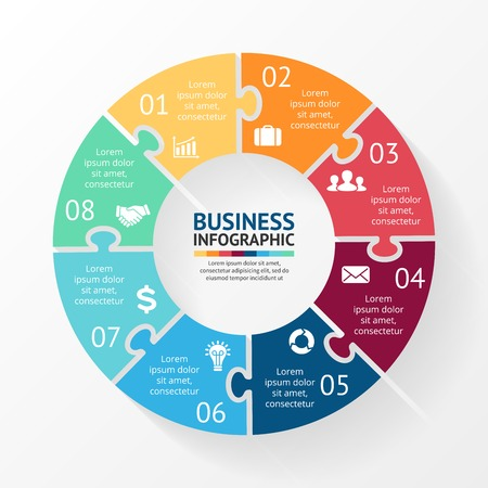 Illustration pour Vector circle puzzle infographic. Template for diagram, graph, presentation and chart. Business concept with 8 options, parts, steps or processes. Abstract background. - image libre de droit