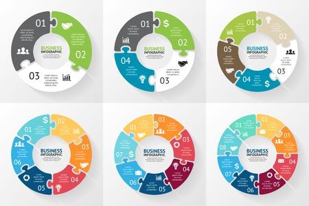 Ilustración de Circle puzzle infographic. Diagram, graph, presentation. - Imagen libre de derechos