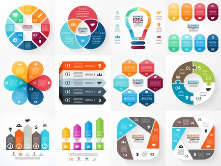 Illustration for Vector infographics set. Collection of templates for cycle diagram, graph, presentation and round chart. Business concept with options, parts, steps or processes. - Royalty Free Image