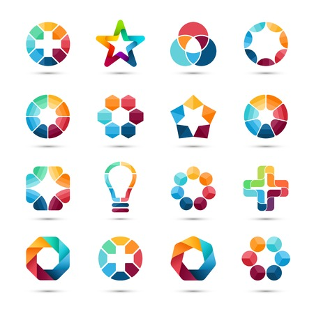 Logo templates set. Abstract circle creative signs and symbols. Circles, plus signs, stars, triangle, hexagons, bulb and other design elements.