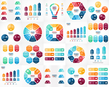 Ilustración de Vector infographics set. Templates for cycle diagram, graph, presentation and round chart. Business startup concept with 3, 4, 5, 6, 7, 8 options, parts, steps or processes. Data visualization. - Imagen libre de derechos