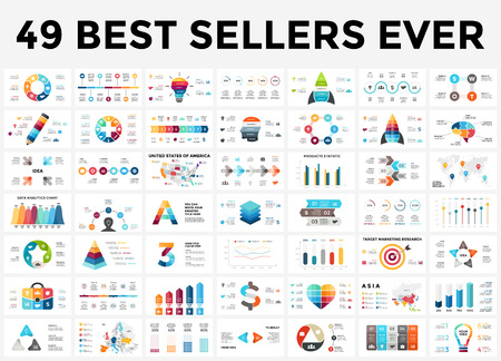 Ilustración de Vector infographics set. 49 slides best sellers. Circle diagrams, arrows graphs, creative presentations and idea charts. Medicine, education, business, marketing, startup, maps. - Imagen libre de derechos