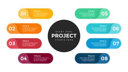 Illustration pour Vector circle arrows infographic, cycle diagram, labels graph, stickers presentation chart. Business concept with 8 options, parts, steps, processes. Slide template. - image libre de droit