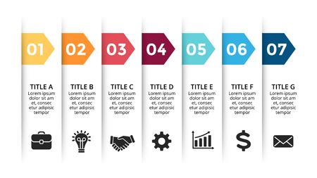 Ilustración de Vector paper arrows infographic, banners diagram, labels graph, stickers presentation chart. Business concept with 7 options, parts, steps, processes. Slide template. - Imagen libre de derechos