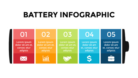 Foto de Vector battery infographic template. Presentation slide template. Business concept with 5 options, parts, steps, processes. - Imagen libre de derechos