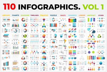 Photo pour 110 Vector Infographics vol 1. Presentation templates includes 11 categories from maps, diagrams or banners to timelines, arrows and creative. - image libre de droit