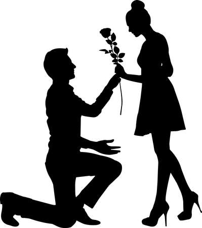 Illustration for Couple Engaged Silhouette Vector - Royalty Free Image