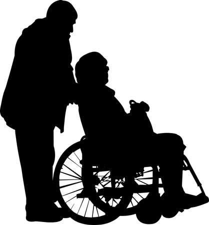 Illustration pour Couple in Wheelchair Silhouette Vector - image libre de droit