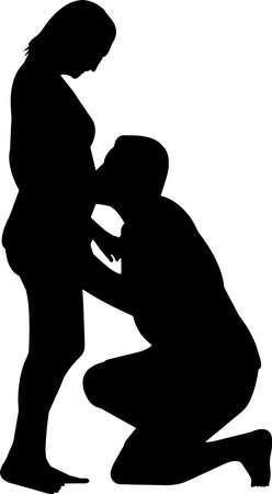 Illustration pour Pregnant Couple Silhouette Vector - image libre de droit