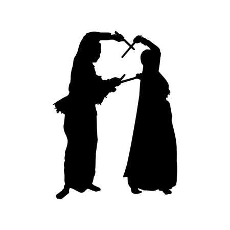 Illustration pour Garba Silhouette Vector - image libre de droit