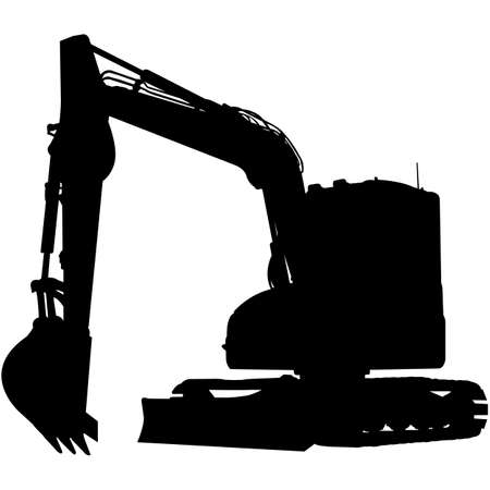 Illustration for Excavator  Silhouette Vector - Royalty Free Image