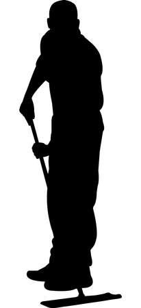 Illustration pour Janitor Silhouette Vector - image libre de droit