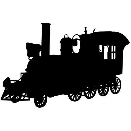 Illustration pour Steam Engine  Silhouette Vector - image libre de droit