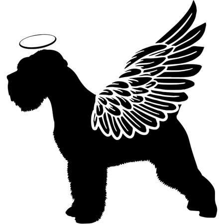 Illustration pour Pet Memorial, Angel Wings Miniature Schnauzer Dog  Silhouette Vector - image libre de droit