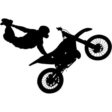 Illustration for Freestyle motocross Silhouette Vector - Royalty Free Image