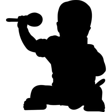 Illustration for Baby Childhood Cancer Awareness Silhouette Vector - Royalty Free Image