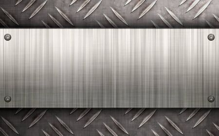 Worn diamond plate metal texture with a brushed aluminum plate riveted to it.  Makes a great layout or business card template.