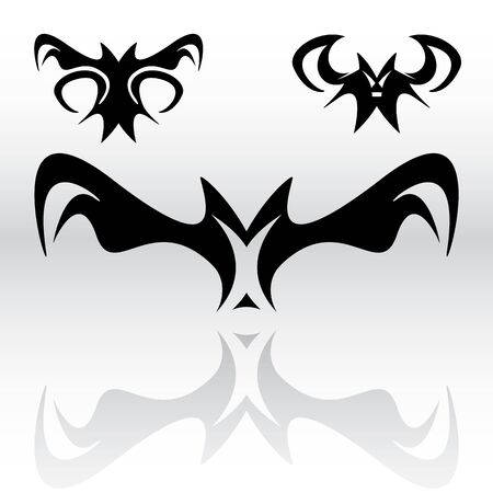 Illustration pour Three different original vampire bat cliparts in a tribal or gothic looking style for use as art elements or icons. - image libre de droit