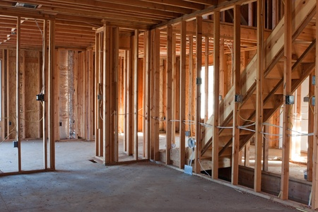 Photo pour Framed building or residential home with basic electrical wiring and hvac complete.   - image libre de droit