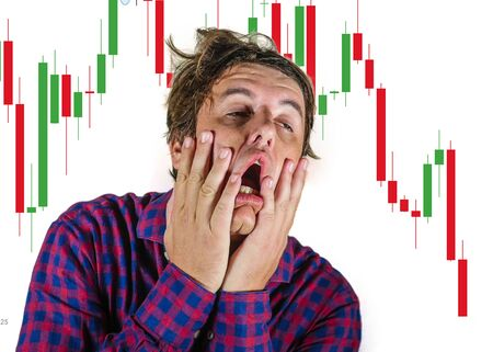 Photo pour forex and stocks market trading stress and risk - crazy stressed and desperate amateur trader man and investor blowing money out of losing trade in wrong investment feeling upset - image libre de droit