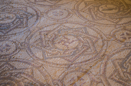 Foto de Chouf District, Lebanon, April 05 - 2017: Mosaic floor with inverted swastika in historic palace located inside the Beit ed-Dine (Beiteddine) palace, built in 1788, renovated after the civil wars. - Imagen libre de derechos