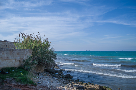 Foto de Sidon, Lebanon, April 04 - 2017: View of the sea from the historic city of Sidon in Lebanon, city that the Crusaders used as a fortress. - Imagen libre de derechos