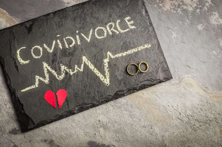 Photo pour Great concept of divorce in quarantine due to the 2019 coronavirus pandemic. Plaque written COVIDIVORCE in reference to divorces caused by human relationships during quarantine. - image libre de droit