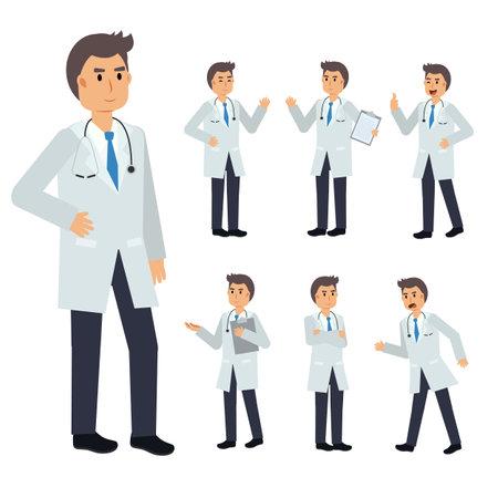 Illustration for Vector Set of male Doctor character. medical Illustration. - Royalty Free Image