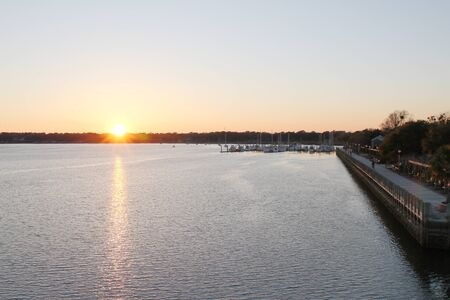 Beaufort waterfront at sunset - SC - USA
