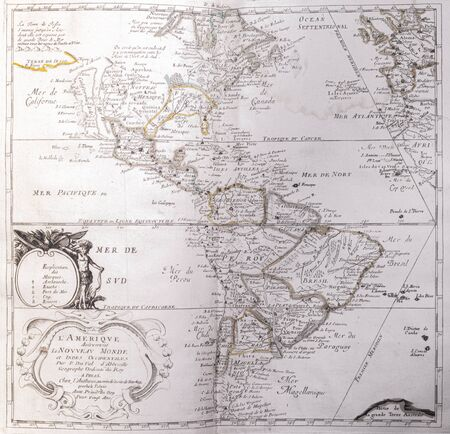Photo pour Old map of The Americas (The New World) - From an 1656 Atlas of Geography from P. du Val - France (Private collection) - image libre de droit