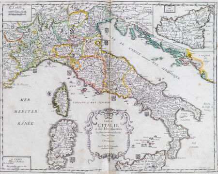 Photo pour Old map of Italy - From an 1656 Atlas of Geography from P. du Val - France (Private collection) - image libre de droit