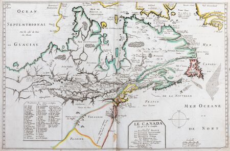 Photo pour Old map of  Eastern Canada (Quebec) - From an 1656 Atlas of Geography from P. du Val - France (Private collection) - image libre de droit