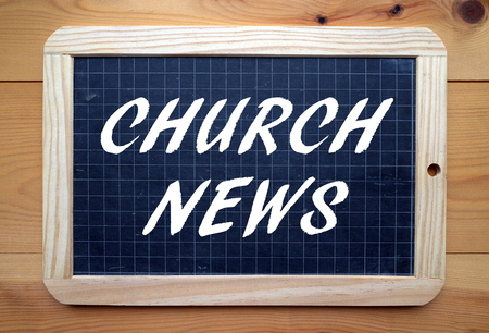 Photo for The phrase Church News in white text on a slate blackboard - Royalty Free Image