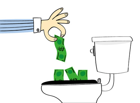 Vektor für Concept for losing or wasting money with a hand dropping dollar bills down a conventional toilet to be flushed away - Lizenzfreies Bild