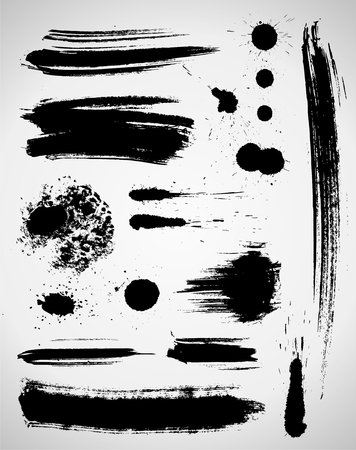 Set of grungy brush strokes in black color