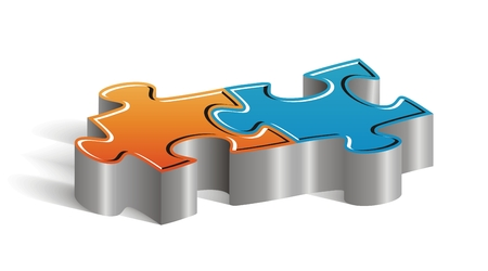 Beautiful concept couple of puzzle pieces to insert your marketing text