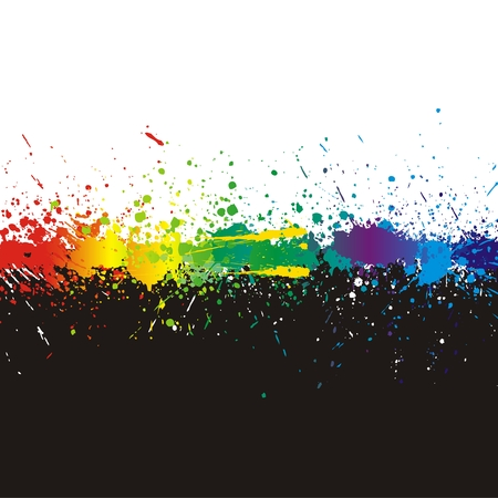 Illustration of line color paint splashes on black background.