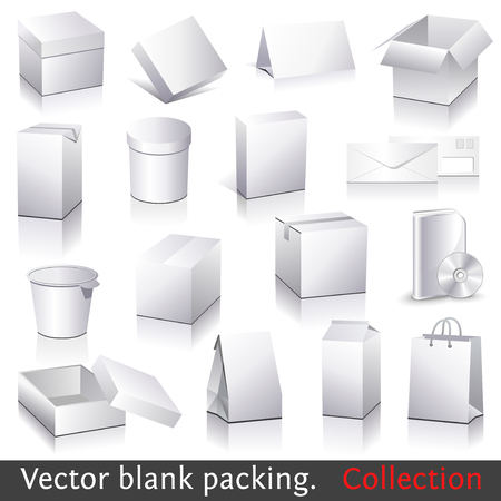 blank packing collection. Set of white paper packaging and stationery elements. Dummies set to place your design on.