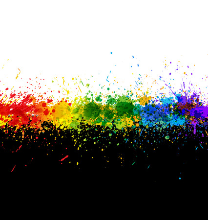 Color paint splashes. Gradient   background. Artwork template.