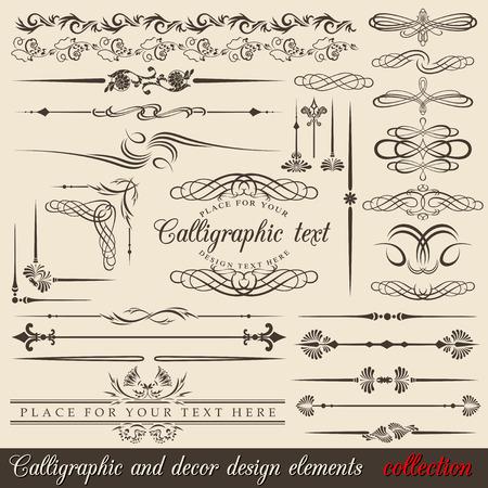 Calligraphic and decor design elements. design corners, bars, swirls, frames and borders. Hand written retro feather symbols.