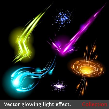 Vector glowing light effect set. Sparkling design element collection.