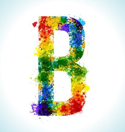 Color paint splashes. Gradient vector font. Letter B