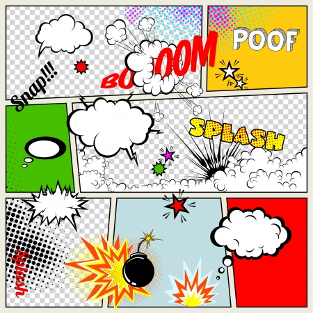 Grunge Retro Comic Speech Bubbles  Vector Illustration on Strip Abstract Talking Clouds and Sounds