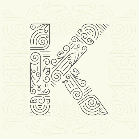 Vector Mono Line style Geometric Font Your for Text, Slogan, Template or Advertising. Golden Monogram Design element for Labels and Badges. Letter K